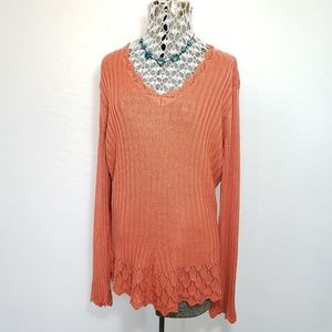 Cato Ribbed Vneck Sweater